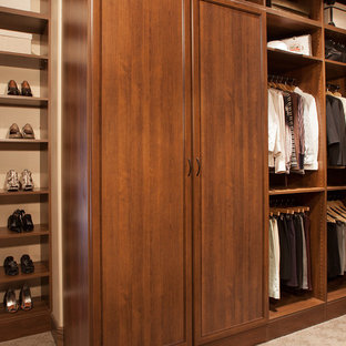 Example of a mid-sized transitional gender-neutral carpeted walk-in closet design in Boston with dark wood cabinets and recessed-panel cabinets