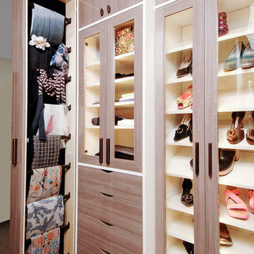 Walk-In Closet with Accessory Slide Out and Shoe Storage