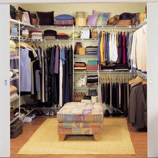 Modelo de armario vestidor unisex, bohemio, grande, con armarios abiertos, suelo de madera clara y suelo marrón
