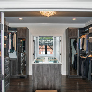 Inspiration for a mid-sized transitional gender-neutral walk-in wardrobe in Chicago with recessed-panel cabinets, distressed cabinets, dark hardwood floors and brown floor.