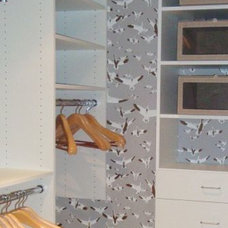 Eclectic Closet wallpapered closet