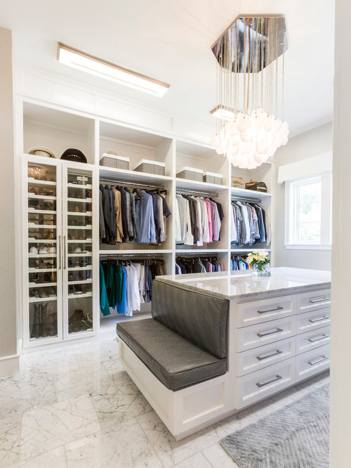 Inspiration for a transitional gender neutral white floor dressing room  remodel in Houston with shaker Closet Ideas Design Photos Houzz