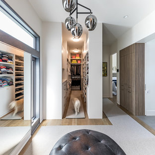 Mid-sized trendy medium tone wood floor and brown floor walk-in closet photo in Dallas with flat-panel cabinets and white cabinets