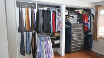 Well organized closet makes use of limited space available.