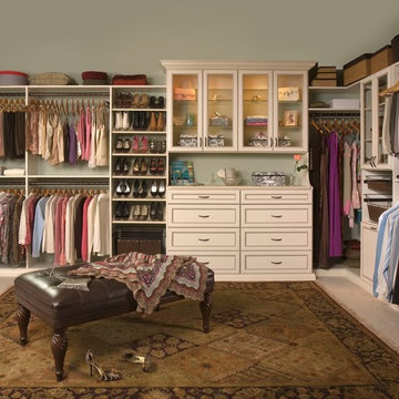 White Closet with Built-in Cabinets