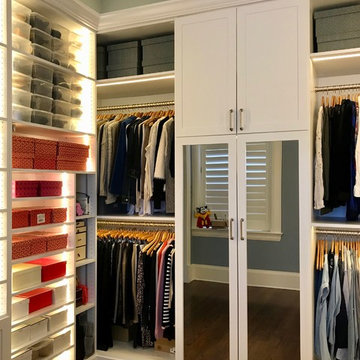 White Lighted Master Closet