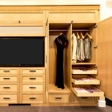 White Oak External Wardrobe and Media Center Display - Danville Showroom
