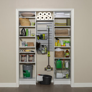 White Utility Closet with Slatwall and Accessories