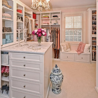 Walk-in closet - large shabby-chic style women's carpeted and beige floor walk-in closet idea in Philadelphia with shaker cabinets and white cabinets