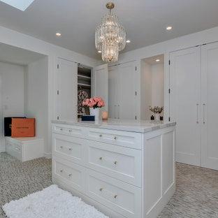 Foto di un'ampia cabina armadio unisex minimal con ante in stile shaker, ante bianche, moquette e pavimento multicolore