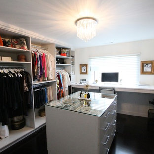 Photo of a mid-sized transitional women's walk-in wardrobe in Detroit with open cabinets, white cabinets, dark hardwood floors and brown floor.