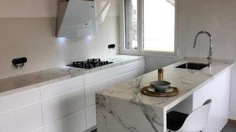 Cocina blanca satinada