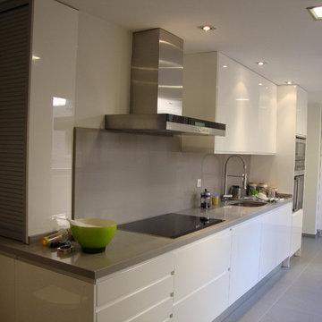 Cocina Blanca y gris lineal