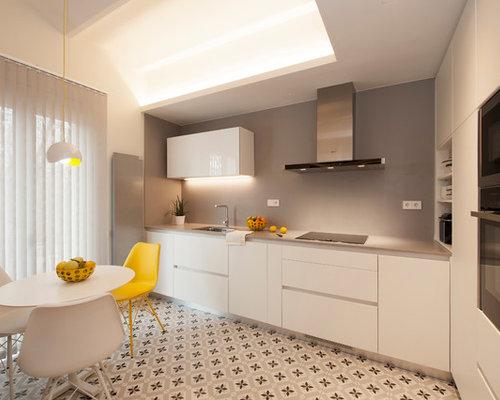Ideas para cocinas fotos de cocinas modernas de tama o medio - Cocina comedor en l ...