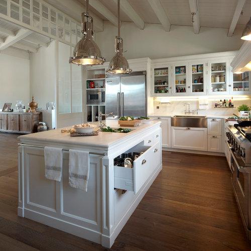 Ideas para cocinas   Fotos de cocinas grandes con fregadero sobremueble