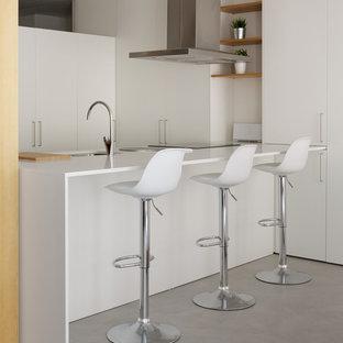 Diseño de cocina en U, contemporánea, pequeña, abierta, con fregadero bajoencimera, armarios con paneles lisos, puertas de armario blancas, encimera de cuarzo compacto, suelo de cemento, una isla, suelo gris y encimeras blancas