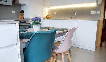 Cocina nórdica con toques de color