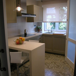 Inspiration for a small scandinavian u-shaped separate kitchen in Other with an undermount sink, raised-panel cabinets, beige cabinets, ceramic floors and a peninsula.