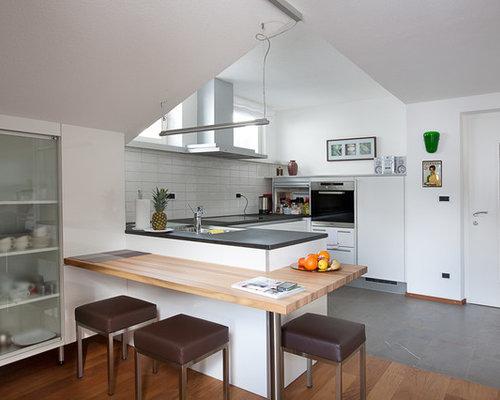 Ideas para cocinas fotos de cocinas de tama o medio con suelo de pizarra - Encimera de pizarra ...