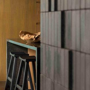 メキシコシティの中くらいのエクレクティックスタイルのおしゃれなキッチン (一体型シンク、フラットパネル扉のキャビネット、中間色木目調キャビネット、御影石カウンター、黒いキッチンパネル、大理石のキッチンパネル、シルバーの調理設備、磁器タイルの床、黒い床、黒いキッチンカウンター、折り上げ天井) の写真