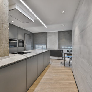 Design ideas for a mid-sized industrial galley open plan kitchen in Madrid with an undermount sink, flat-panel cabinets, grey cabinets, limestone benchtops, stainless steel appliances, laminate floors, a peninsula, beige floor and white benchtop.
