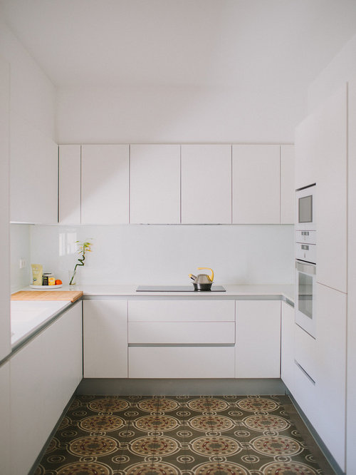 White Modern Kitchen Ideas Part - 35: Small Modern Kitchen Ideas - Kitchen - Small Modern U-shaped Multicolored  Floor Kitchen Idea
