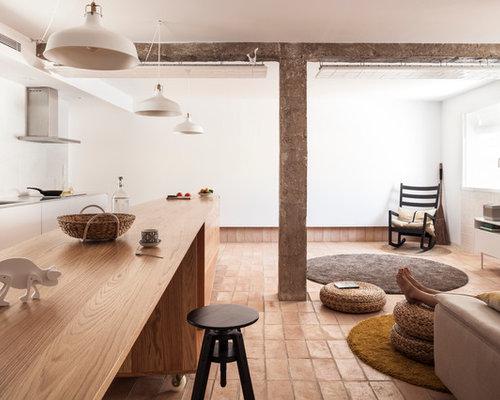 moderne k chen mit terrakottaboden ideen bilder. Black Bedroom Furniture Sets. Home Design Ideas