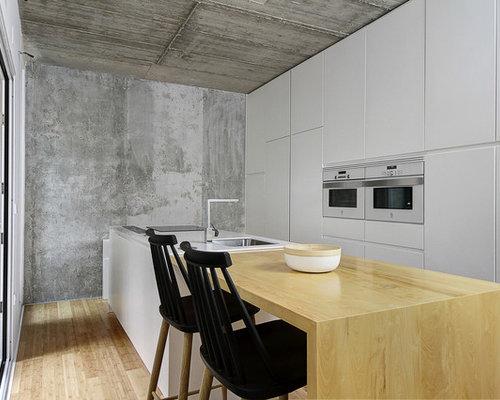 Cucina con top in legno e pavimento in bambù - Foto e Idee per ...