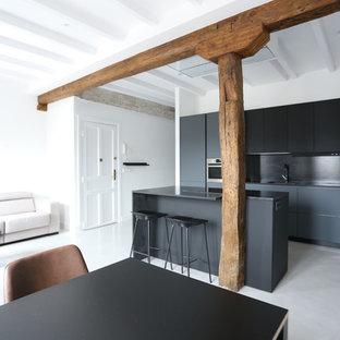 Diseño de cocina de galera, minimalista, abierta, con fregadero bajoencimera, armarios con paneles lisos, puertas de armario grises, electrodomésticos de acero inoxidable, suelo de cemento, una isla, suelo gris y encimeras negras