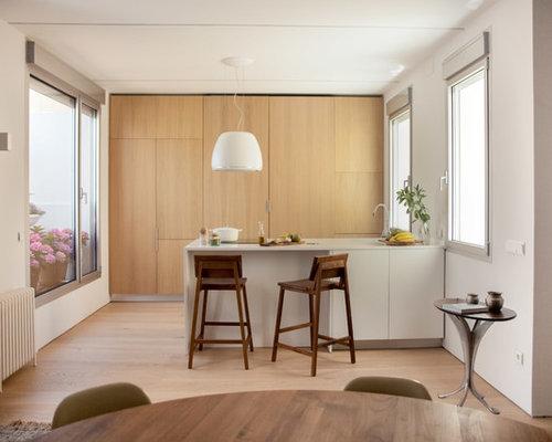 Zweizeilige, Mittelgroße Moderne Wohnküche Mit Flächenbündigen  Schrankfronten, Hellbraunen Holzschränken, Elektrogeräten Mit Frontblende,