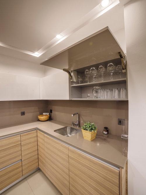 Cocina combinada en laca blanca y madera - Laca blanca para madera ...