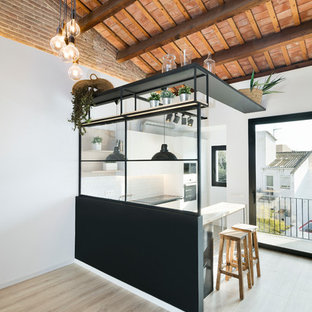 Modelo de cocina comedor de galera, industrial, pequeña, con suelo de madera clara y península