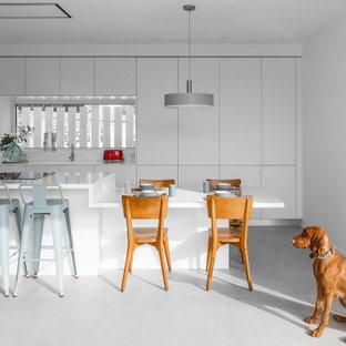 Ejemplo de cocina de galera, moderna, con armarios con paneles lisos, puertas de armario blancas, electrodomésticos de acero inoxidable, una isla, suelo gris y encimeras blancas