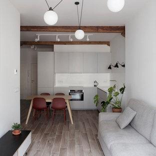 Foto de cocina nórdica con suelo beige