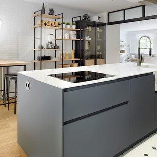 Diseño de cocina de galera, nórdica, con fregadero integrado, armarios con paneles lisos, puertas de armario grises, suelo de madera clara, una isla y suelo beige