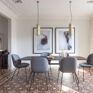 Diseño de comedor actual, de tamaño medio, sin chimenea, con paredes blancas, suelo de baldosas de cerámica y suelo multicolor