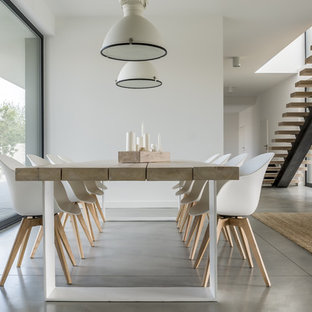 Example Of A Large Minimalist Concrete Floor And Gray Floor Dining Room  Design In Other With