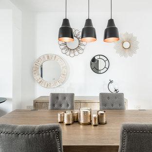 Ejemplo de comedor contemporáneo, de tamaño medio, abierto, con paredes blancas y suelo de madera oscura