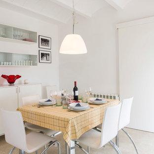 Modelo de comedor actual, pequeño, cerrado, con paredes blancas