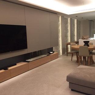 Неиссякаемый источник вдохновения для домашнего уюта: кухня-столовая среднего размера в современном стиле с бежевыми стенами, полом из керамогранита, угловым камином, фасадом камина из дерева и бежевым полом
