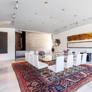 Modelo de comedor actual con paredes blancas y suelo gris