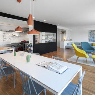 Diseño de comedor de cocina escandinavo, grande, sin chimenea, con paredes blancas, suelo de madera en tonos medios y suelo marrón