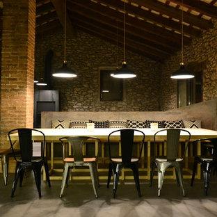 Esempio di una sala da pranzo aperta verso il soggiorno rustica di medie dimensioni con pareti grigie, pavimento in cemento, stufa a legna, cornice del camino in metallo e pavimento grigio