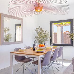 Foto de comedor actual, abierto, con paredes blancas, suelo de cemento y suelo gris