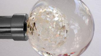 Final barra de cortina ESFERA ELFIKA CRISTAL resina y cristal de 85mm diámetro