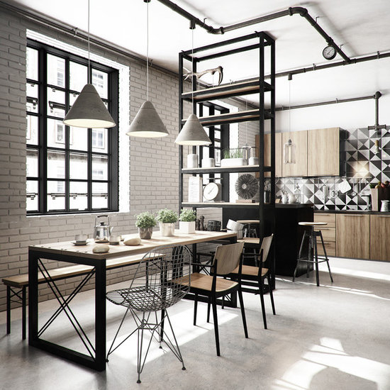Industrial Dining Room Table mid-sized industrial dining room design ideas, remodels & photos