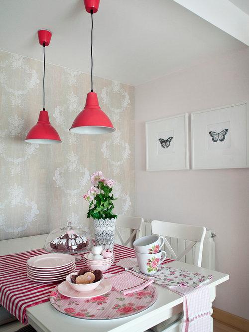 Sala da pranzo shabby chic style con pareti rosa foto - Sale da pranzo shabby ...