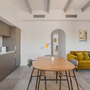 Foto de comedor contemporáneo, abierto, sin chimenea, con paredes blancas