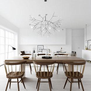 Ejemplo de comedor de cocina escandinavo, grande, sin chimenea, con paredes blancas y suelo de madera clara