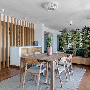 Ejemplo de comedor actual, grande, abierto, sin chimenea, con paredes blancas, suelo de madera en tonos medios y suelo marrón